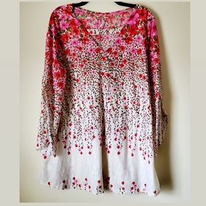 Flirty Pink Floral Design Bell Sleeves Dre…